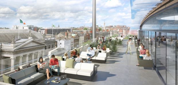 An artist's impression of the Clerys Quarter project, which will feature the city's largest rooftop restaurant and aims to become a 'destination development', with a mix of retail, office, hotel and food; below, Dublin Town chief executive Richard Guiney