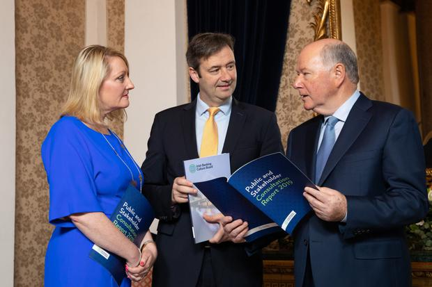 Launch: Acting CEO, Marion Kelly; Minister of State Michael D'Arcy; and Irish Banking Culture Board's Chairman, Mr Justice John Hedigan
