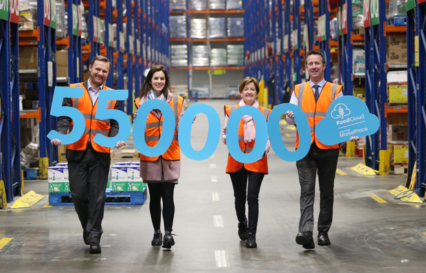 Anthony Nolan, general manager of Musgrave MarketPlace in Sallynoggin; Aoibheann O'Brien, co-founder of FoodCloud; Catherine Lambe, HR director, Musgrave MarketPlace; and Padraig Doran, general manager of Musgrave MarketPlace Robinhood, publicise the 550,000 meals delivered