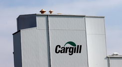 A Cargill logo is pictured on a factory in Lucens, Switzerland. REUTERS/Denis Balibouse