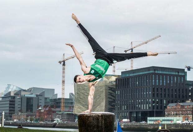 Poise: At the announcement of Indeed's new partnership with the Irish Olympic Team for Tokyo 2020 was Irish gymnast Rhys McClenaghan. Photo: Fennell Photography