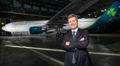 Makeover: Aer Lingus CEO Sean Doyle with an aircraft in the airline's new livery