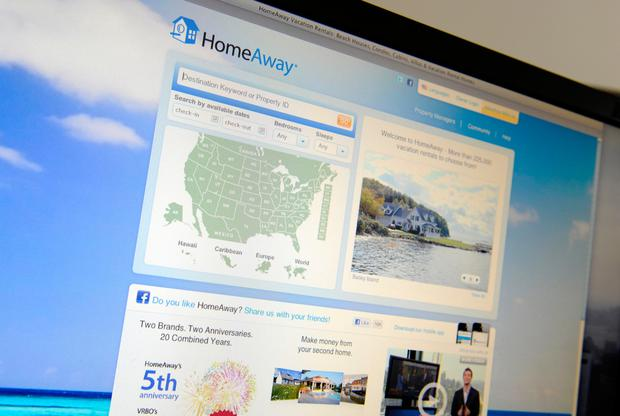Coat-tails: The website of Expedia's HomeAway, a major rival to Airbnb