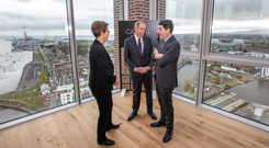 High hopes: Mary Ricks and Bill McMorrow with Finance Minister Paschal Donohoe at Capital Dock