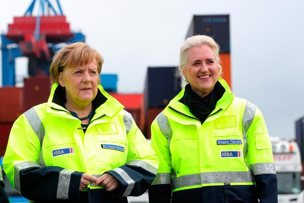 Hopes: Chancellor Angela Merkel, chancellor with Angela Titzrath, chair of Hamburg port company HHLA. Photo: Bloomberg