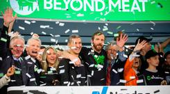 Sizzling shares: Ethan Brown, founder and CEO of Beyond Meat, centre, after ringing the opening bell during the company's IPO at the Nasdaq MarketSite in New York. PHOTO: Michael Nagle/Bloomberg