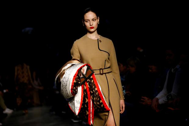 A model presents a creation during the Burberry catwalk show at London Fashion Week Women's A/W19 in London
