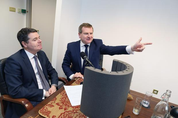 Taxing issue: Finance Minister Paschal Donohoe holding talks in the past with Danny McCoy of Ibec. Photo: Julien Behal