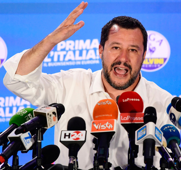 Mandate: Deputy Prime Minister and League party leader Matteo Salvini at League party headquarters in Milan following its success in the European Parliament elections. Photo: Getty Images