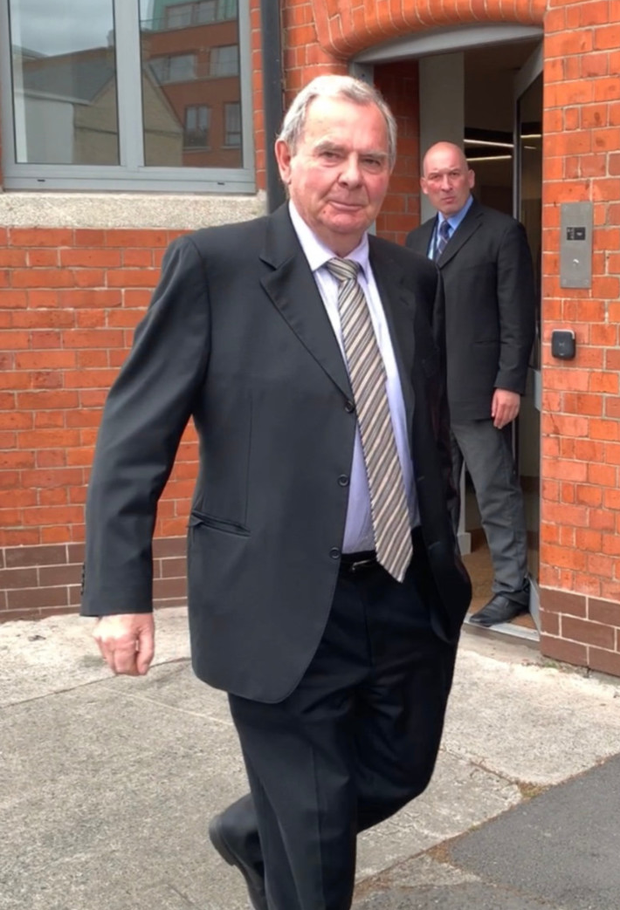 Sean Quinn leaving the inquiry in Dublin yesterday. Photo courtesy RTÉ