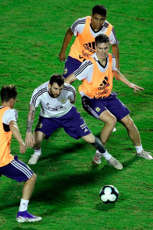 Lionel Messi and team-mates from Argentina at a training session at Manoel Barradas Stadium in Salvador, Brazil, ahead of the Copa America tournament, to which Premier Sports has broadcasting rights. Photo: Gustavo Ortiz/AFP