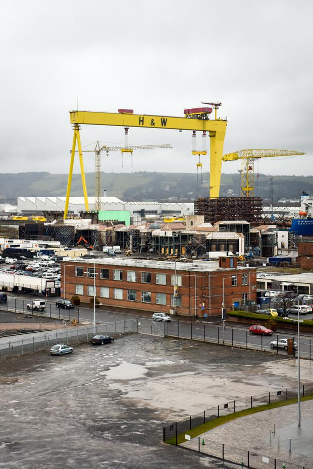 Iconic: The Harland and Wolff shipyard cranes. Photo: Bloomberg
