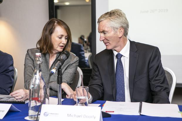Triona Mullane and INM CEO Michael Doorly at the EGM in the Carlton Airport Hotel. Photo: Kyran O'Brien