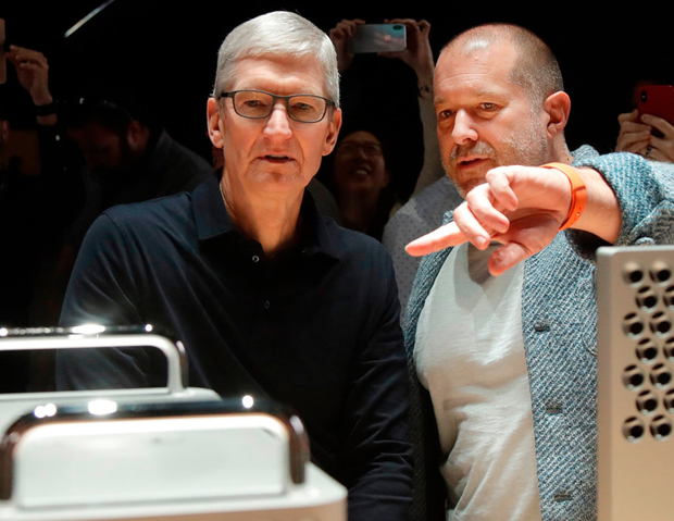 End of a era: Apple CEO Tim Cook, left, and chief design officer Jonathan Ive who is leaving after two decades to start his own company. Photo: AP