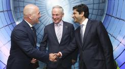 Green fingers: Energia CEO Ian Thom, left, with Minister Bruton and I Squared founder Gautam Bhandari