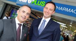Pharmacy owner Laurence Gavin and John Carroll, chief commercial officer of Navi Group, at the opening of CarePlus Pharmacy's 60th outlet, in Dublin's Cabinteely. Photo: Philip Leonard