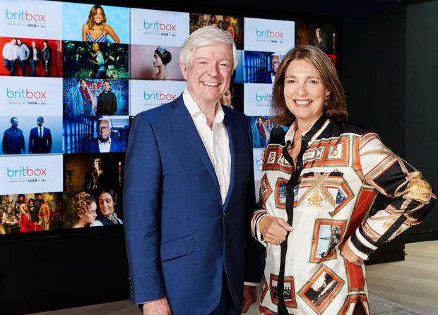 Crossing the channel: BBC Director General Tony Hall and ITV CEO Carolyn McCall at the launch of the collaborative BritBox service. Photo: PA