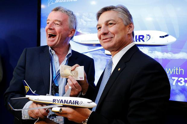 Turbulence: Ryanair CEO Michael O'Leary, left, with former Boeing Commercial Airplanes president Ray Conner, announcing move for more Max aircraft in 2013