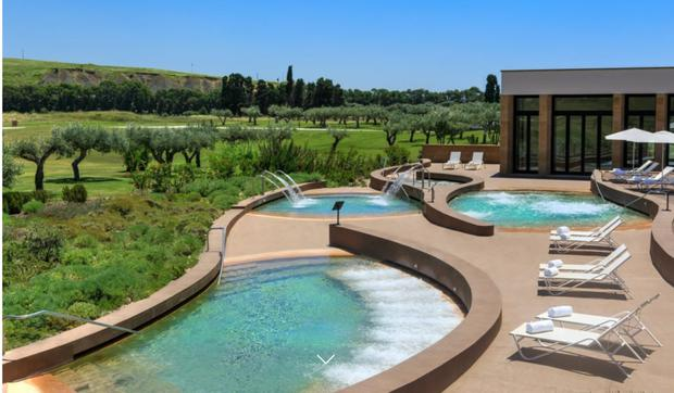 Luxury: The camp at the Verdura Resort attracted celebrities including Katy Perry
