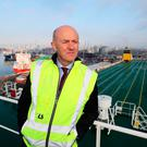 Looking to the future: Dublin port chief executive Eamonn O'Reilly aboard the MV Laureline in Dublin Port. Photo: PA