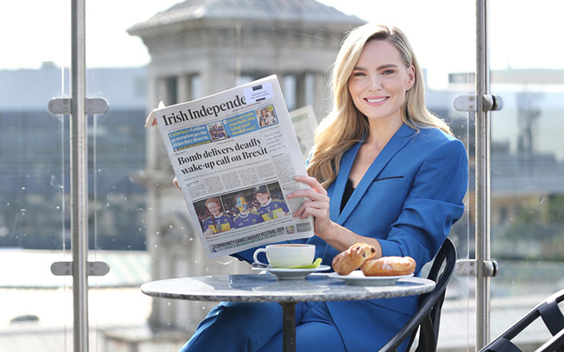 Terrace: Model Sarah Morrissey enjoys the view from The Address hotel rooftop