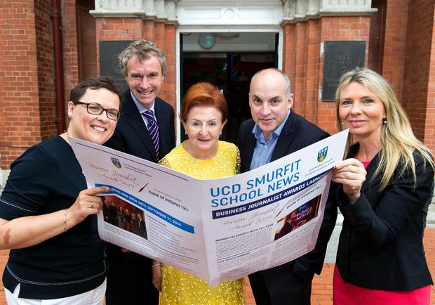 Pictured at the launch of the awards are, from left to right: Paula Murphy, head of strategic sponsorship, Bank of Ireland; Professor Anthony Brabazon, dean of UCD Business; Breege O'Donoghue, judging panel chairperson and Primark brand ambassador; Donal O'Donovan, Irish Independent business editor; and Professor Gerardine Doyle, director of the UCD Michael Smurfit Graduate Business School.