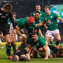 History-maker: Jacob Stockdale celebrates after scoring Ireland's first try against New Zealand at the Aviva