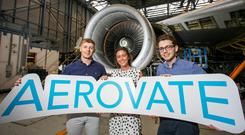 Ready for takeoff: University of Limerick students Brian Nash, Jane Doohan and Padraig Cronin help launch the competition. Photo: Arthur Ellis Photography