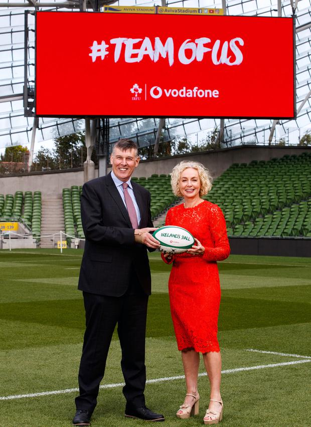 IRFU chief executive Philip Browne, left, and Vodafone Ireland chief executive Anne O'Leary marked the deal at the Aviva Stadium yesterday