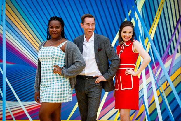 RTÉ personality Ryan Tubridy with actors Demi Isaac Oviawe and Eileen O'Higgins from two new series, Young Offenders and Dead Still, at the launch of the station's new season last month. Photo: Andres Poveda