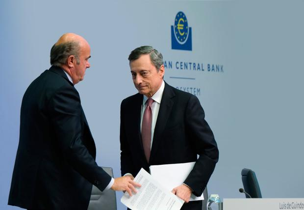 Last act: Mario Draghi, President of the European Central Bank, departs after speaking to the media following a meeting of the ECB governing board