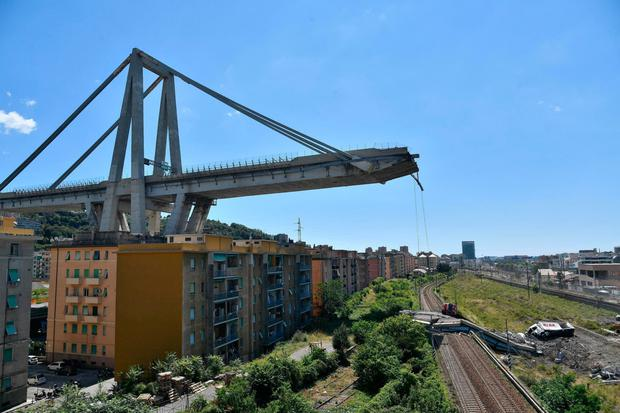 The Morandi highway bridge that collapsed in Genoa, northern Italy, in August 2018