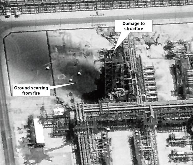 Attack: Damage to the Aramco refinery is seen on satellite images. Photo: Reuters