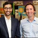 Sundar Pichai with Adrian Weckler. Photo: Steve Humphreys