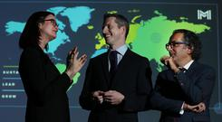 Mindset: Dr Katharine Wilkinson, author and sustainability expert, with Simon Boucher, CEO IMI and Dr John Briffa at the IMI conference launch