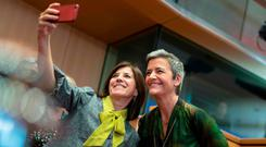 Selfie: Margrethe Vestager poses for a photo at her European parliament hearing in Brussels. Photo: AFP via Getty Images