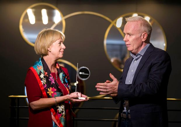 Shortlist: Director of Knowledge Transfer Ireland, Dr Alison Campbell with MC of the Impact Awards, Richard Curran of the Irish Independent
