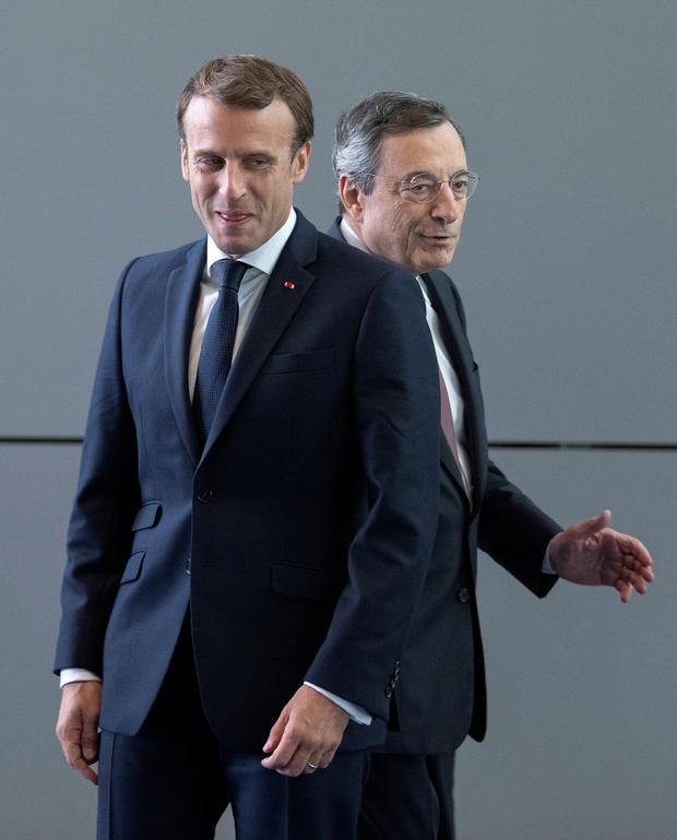 French president Emmanuel Macron with Mario Draghihe
