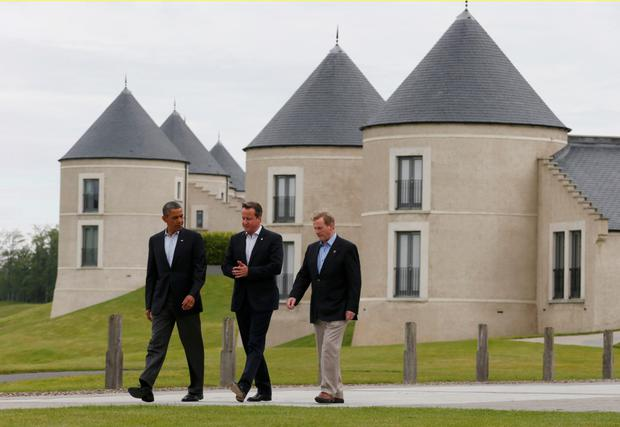 Meeting of minds: Former US, UK and Irish leaders Barack Obama, David Cameron and Enda Kenny at the resort in 2013