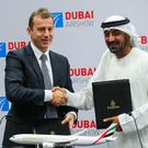 Deals: Airbus CEO Guillaume Faury with Sheikh Ahmed bin Saeed Al Maktoum, CEO and chairman of the Emirates Group at the Dubai Airshow