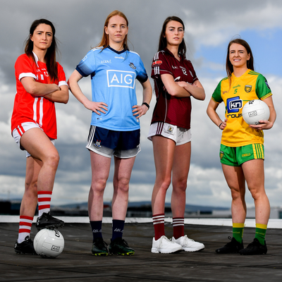 Players from Cork, Dublin, Galway and Donegal at the launch of the Lidl National Leagues last December