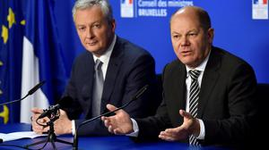French Economy Minister Bruno Le Maire and German Finance Minister Olaf Scholz. Photo: Reuters/Eric Vidal/File Photo