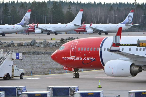 A view of parked aircrafts belonging to budget carrier Norwegian at Stockholm Arlanda Airport