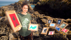Shona Shirley Macdonald of Mireog from Rinn, Co Waterford with her hand-printed T-shirts. Picture: Patrick Browne