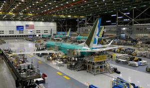 Grounded: A Boeing 737 Max airplane being built on the assembly line in Renton, Washington. PHOTO: AP/TED S WARREN