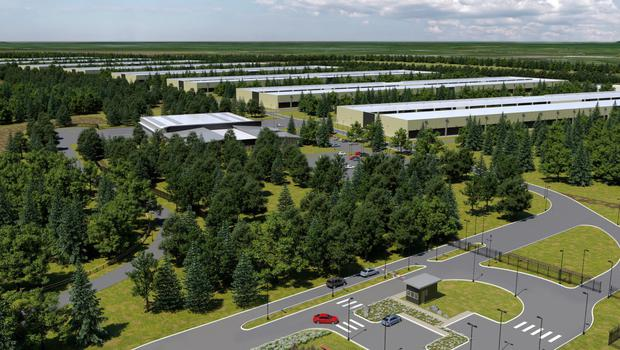 An artist's impression of Apple's new data centre which will be built near Athenry, Co Galway.