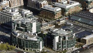 An aerial view of the IFSC in Dublin - Around half of all contracts that are won here go to companies in Dublin