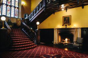Open fire at the foot of the staircase of Markree Castle