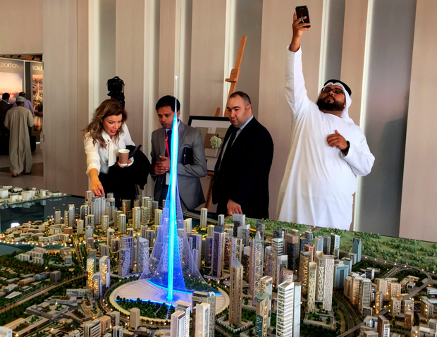 Visitors look at a scale model of the proposed new tower Photo: AFP/Getty Images