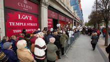 Customers queue up outside Clerys on the day of its relaunch in 2013